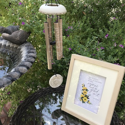Rejoice Wind Chimes & 5x7 Art Card Package